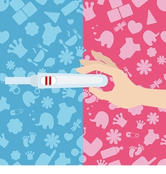 Woman holds a pregnancy test in her hand vector image