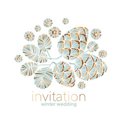 Xmas vibes pastel teal green pine cone composition vector