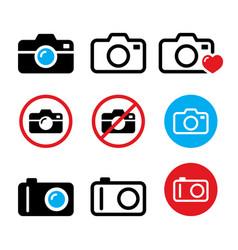 camera taking photos no camera sign icons vector image