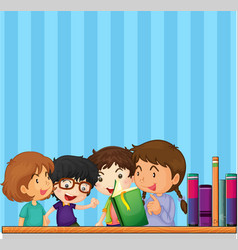 children reading book and blue background vector image