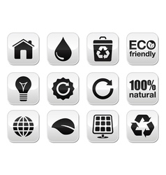 Green ecology buttons set vector image
