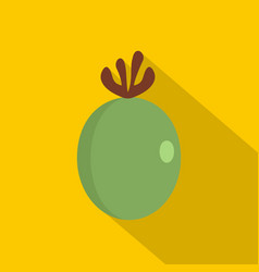 green fresh feijoa fruit icon flat style vector image
