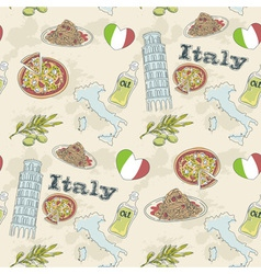 Italy travel grunge seamless pattern vector image vector image