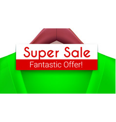 super sale ad banner green jacket with tag vector image