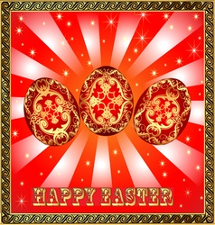 background with Easter eggs and golden rays vector image