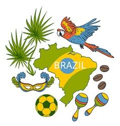 brazil symbols set vector image vector image
