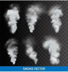 Realistic transparent smoke steam vector