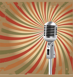 retro microphone rays background vector image vector image