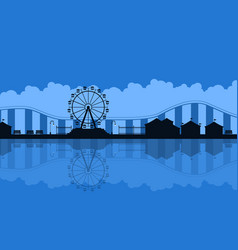 Scenery amusement park background silhouette vector