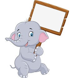 Cartoon funny elephant holding blank sign vector image vector image
