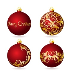 Set of Red Christmas balls on white background vector image vector image
