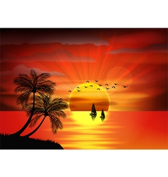 Sunset background on beach vector image