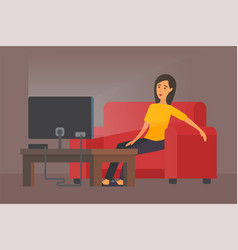 tired woman in front of tv vector image