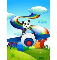 A plane with a panda near the rainbow vector image