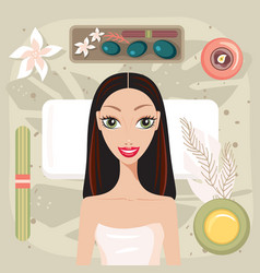 beautiful young woman relaxing at spa salon look vector image