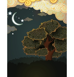 Cartoon landscape Tree clouds and moon vector image vector image