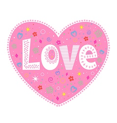 Love lettering decorative heart vector image vector image