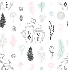 pastel seamless pattern with hand drawn two cups vector image vector image