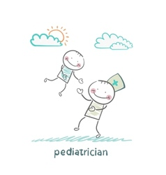 pediatrician playing with child vector image vector image