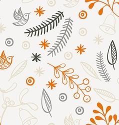 Retro hand drawn winter holidays seamless patterns vector image