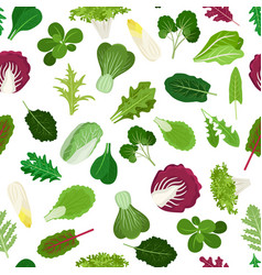 salad vegetable leaves seamless pattern vector image vector image