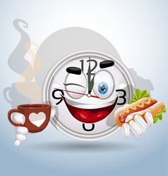 Watch smiley enjoying lunch break vector image vector image