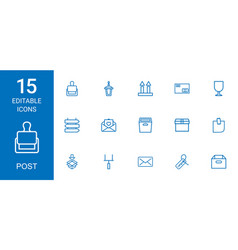 15 post icons vector image