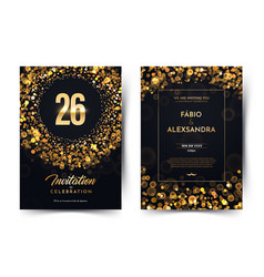 26th years birthday black paper luxury vector