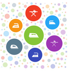 7 ironing icons vector
