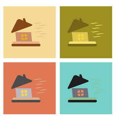 Assembly flat icons nature storm the house vector