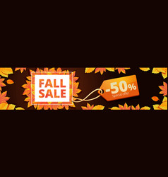 autumn final sale banner horizontal cartoon style vector image