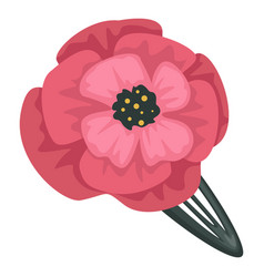 Barrette with poppy flower decoration female hair vector
