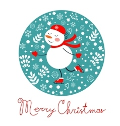 Beautiful Christmas card with frostie girl ice vector image