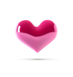 big pink heart 3d heart isolated on white vector image