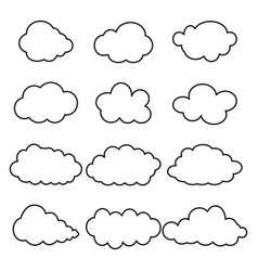 Black contour clouds vector