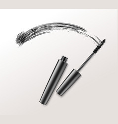 black mascara brush strockes on background vector image
