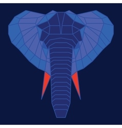 Blue and orange low poly elephant vector image