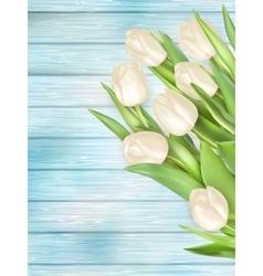 Bouquet white tulips eps 10 vector