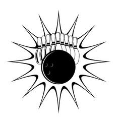 Bowling strike - set bowling pins and ball vector