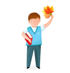 boy with book and leaves flat vector image