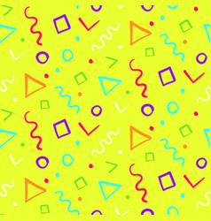 bright yellow pattern with color shapes vector image