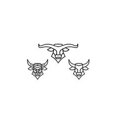 Buffalo line art logo icon vector