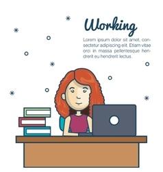 Cartoon woman working laptop desk design vector