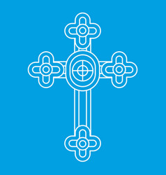 Christian cross jewelry icon outline style vector