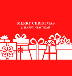 Christmas box gifts background on red background vector
