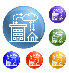 city rainfall icons set vector image