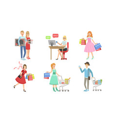 collection people carrying shopping bags with vector image