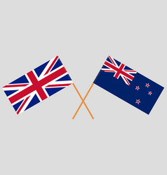 Crossed new zealand and british flags vector