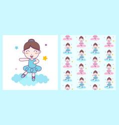 Cute girl ballerina dance blue custom on the vector
