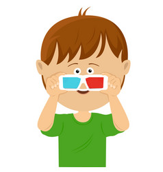 cute little boy wearing 3d glasses vector image
